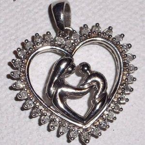 Real Diamond Sterling Silver Heat Pendant